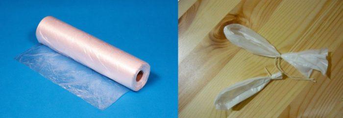 Рулон полиэтиленовых пакетов; пакетики, перевязанные у основания ниткой