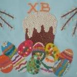 Рисунок пластилином с изображением кулича, веточек вербы и пасхальных яиц