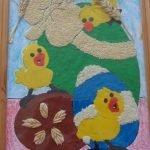 Картина из пластилина «Пасхальные яйца и цыплята»