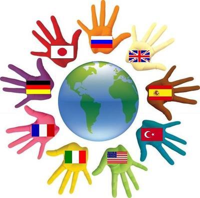 Ладошки с национальными флагами вокруг Земли