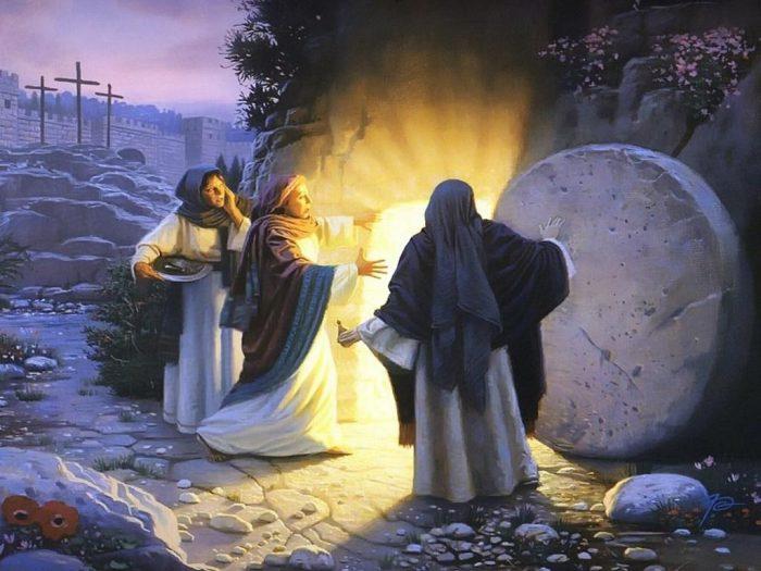 Жёны-мироносицы увидели, что камень отодвинут от пещеры