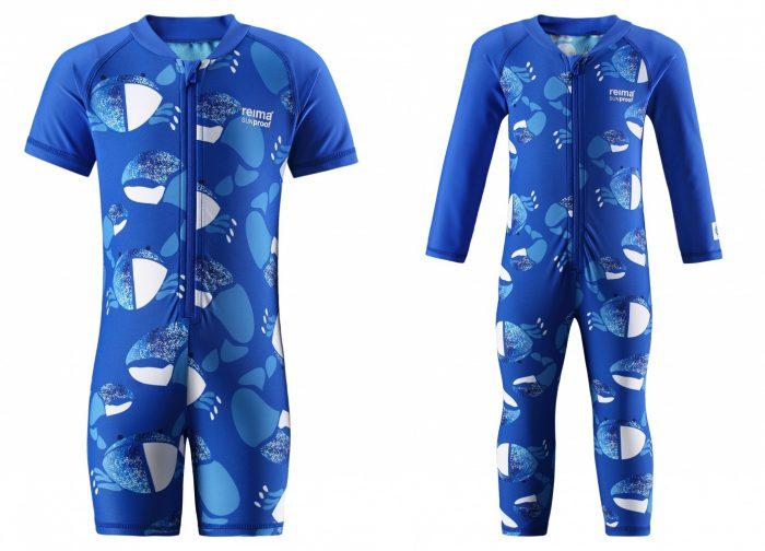 Солнцезащитный комбинезон с короткими рукавом и низом в виде коротких шорт; вариант с длинными рукавами и длинными штанами