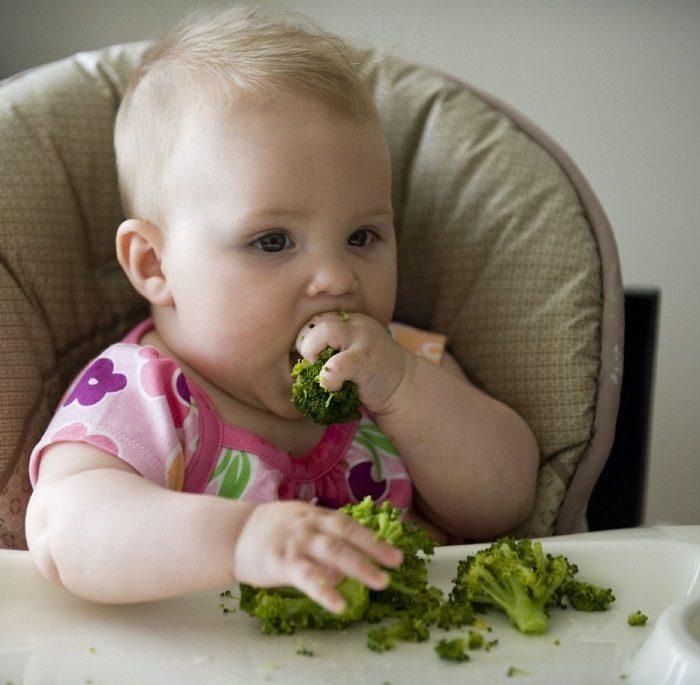 Младенец тянет в рот брокколи