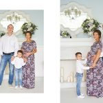 Беременная женщина, ее муж и старший сын