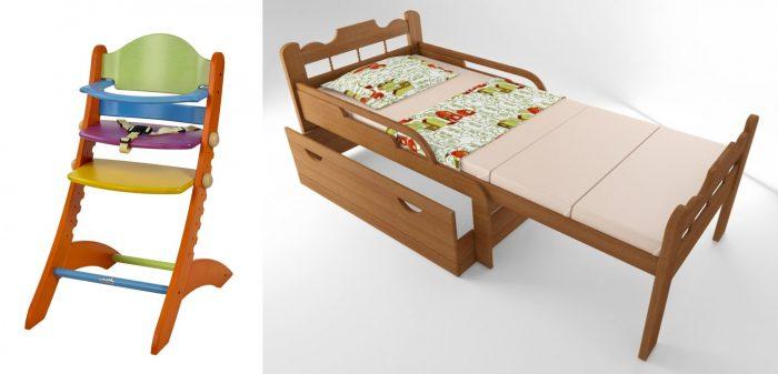 Растущий стульчик для кормления и раздвижная кровать