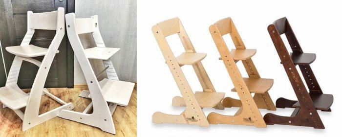 Растущие стулья: высота сиденья и подставки для ног регулируется пазами и мебельными болтами
