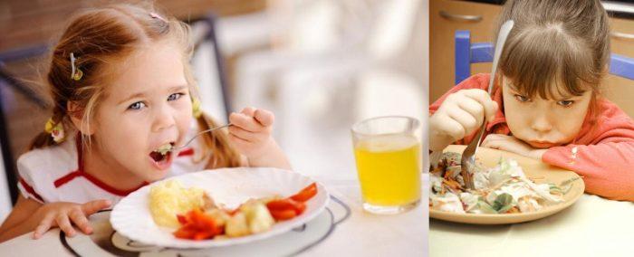 Девочка с аппетитом ест овощное блюдо, другая же отказывается от еды