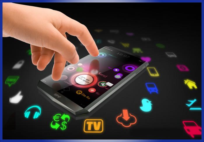 С помощью руки выбирается одно из сотен приложений на смартфоне