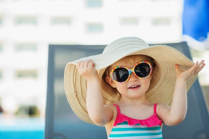 Девочка в широкополой панаме и солнечных очках на солнце
