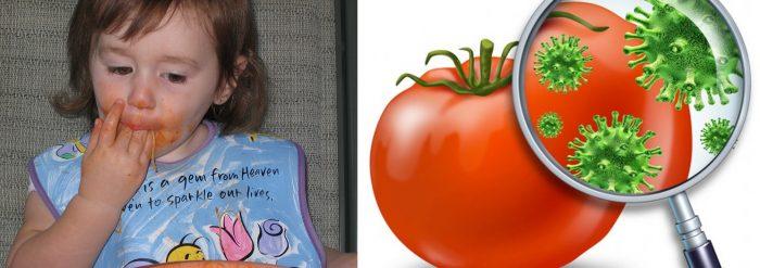 Девочка ест макароны и облизывает пальцы; микробы на помидоре, увеличенные под лупой