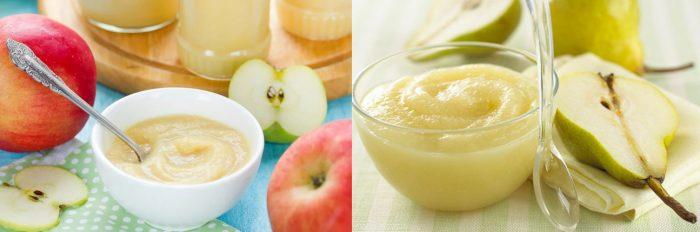 Яблоки и пюре из яблок; груши и пюре из груш