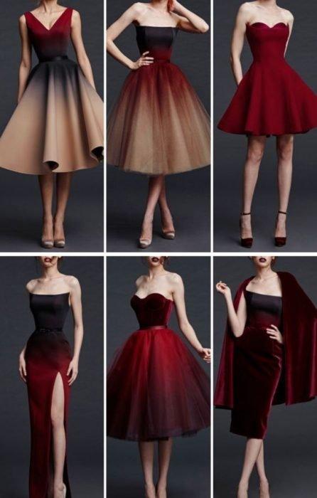 Шесть различных моделей выпускного платья с эффектом деграде
