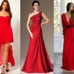 Три девушки в красных выпускных платьях