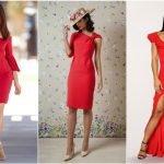 Три девушки в красных платьях разного покроя