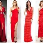 Четыре девушки в длинных красных платьях