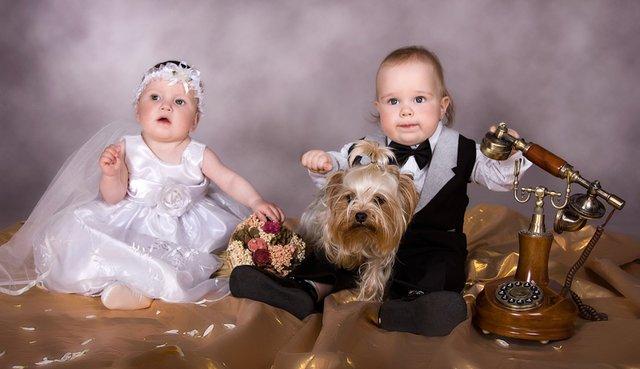 малыши в свадебных нарядах