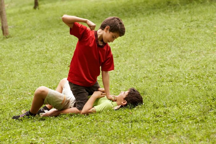 Мальчик готовится ударить другого ребёнка