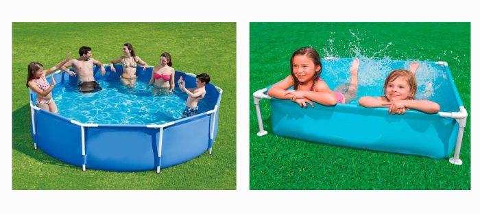 каркасные бассейны, дети и взрослые купаются