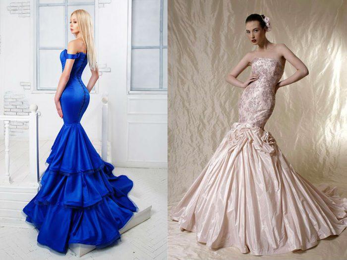Две девушки в длинных платьях «рыбка»