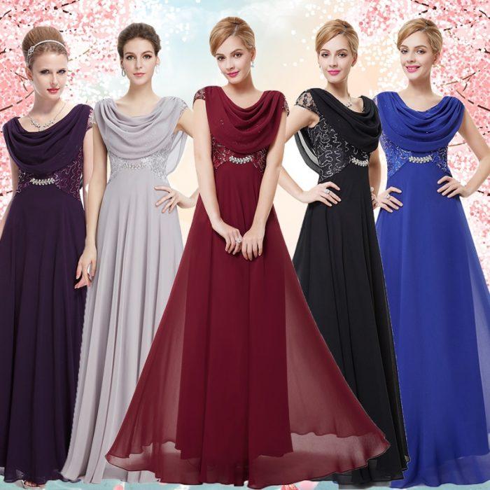 Пять девушек в вечерних платьях с воротником «хомут»