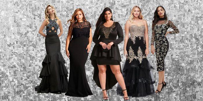 девушки в черных выпускных платьях