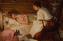 картина роженица с младенцем и повитухой