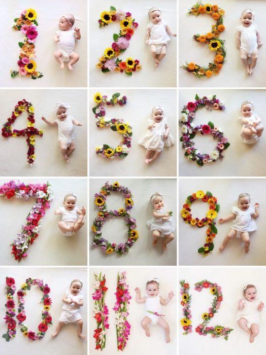 Коллаж из фото маалденца с цифрами из цветов