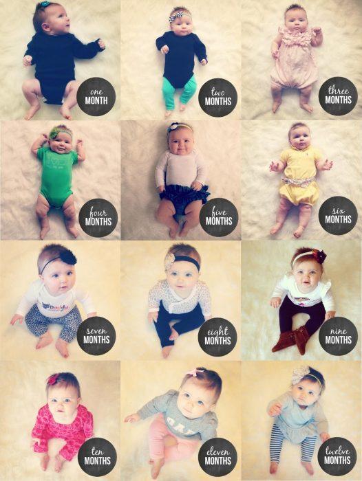 коллаж фото малыша со стикерами из приложения