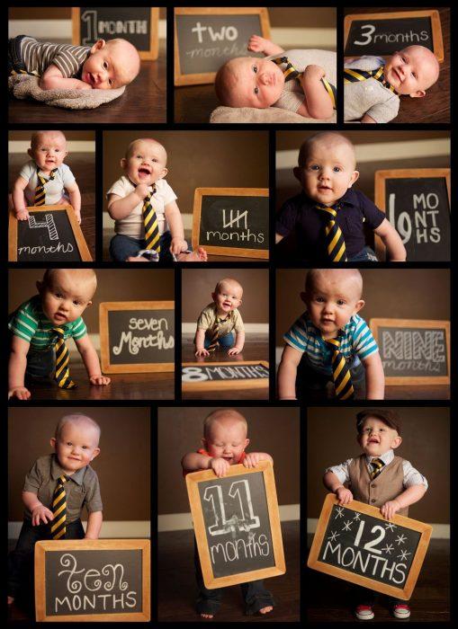 коллаж из фото малыша с меловой доской