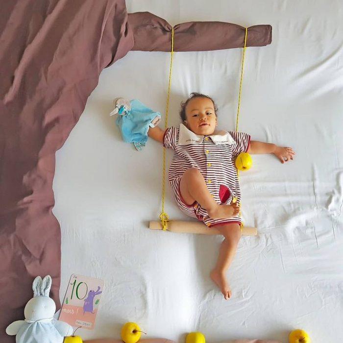 фото младенца с декором из ткани