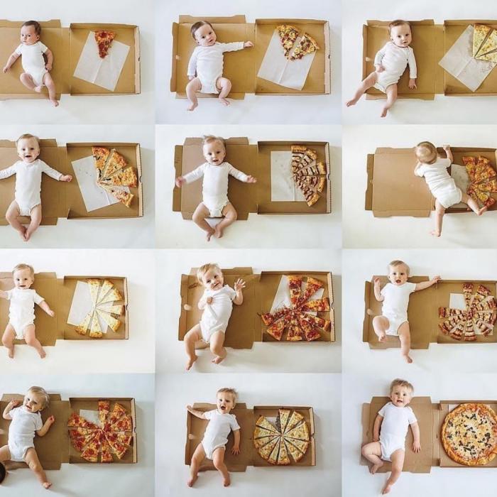 фото малыша по месяцам в коробке пиццы