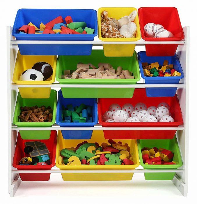 стеллаж-горка с ящиками для игрушек