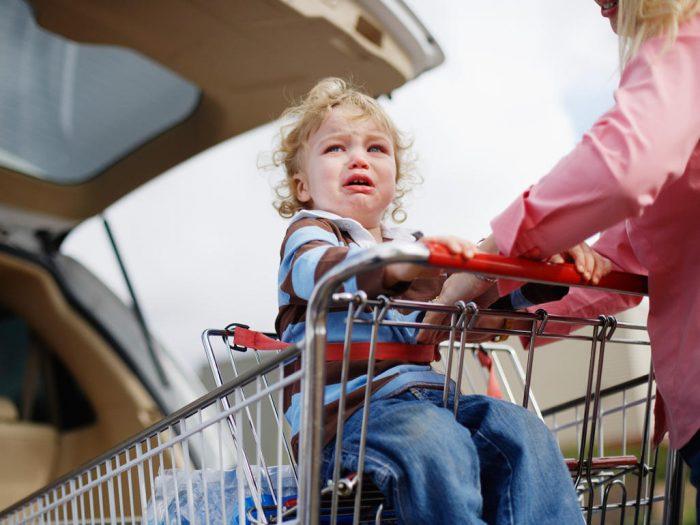 ребенок плачет в магазинной тележке