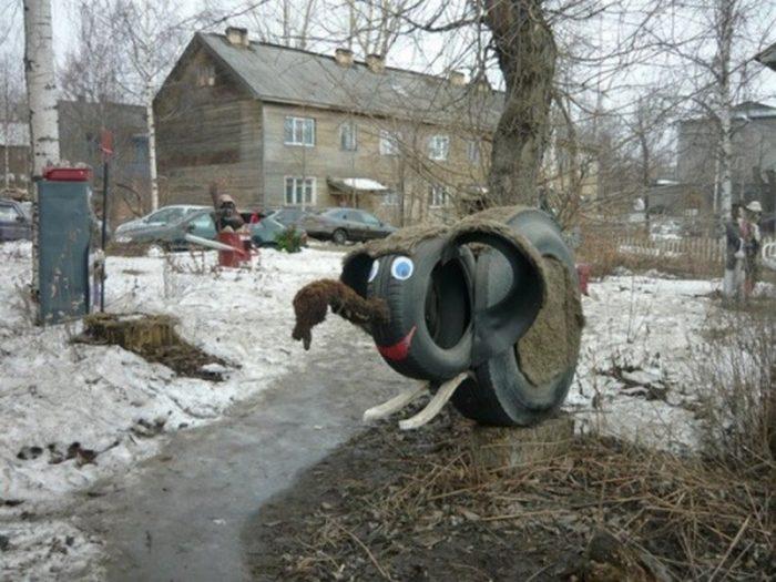 мамонтенок из шин