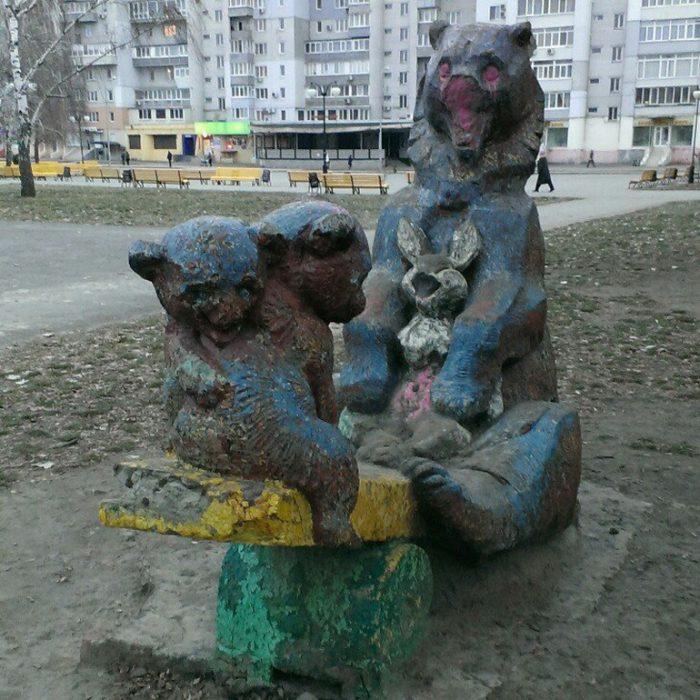 три медведя из цемента