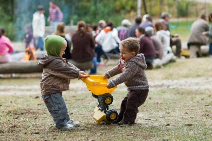 мальчики делят машинку