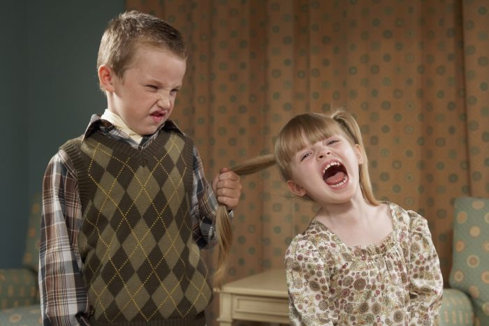 Мальчик дёргает сестру за волосы