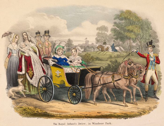 старинная детская коляска на картинке