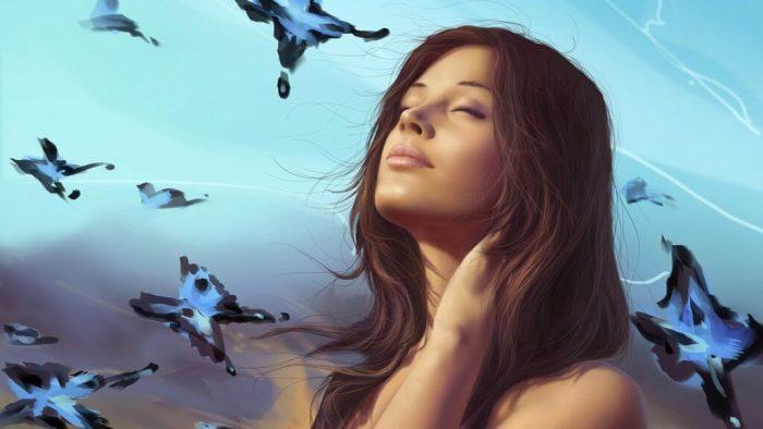 Женщина закрывает глаза и что-то представляет, рядом порхают бабочки