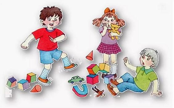 Мальчик топочет ногами, разбросал игрушки, другие дети пугаются его