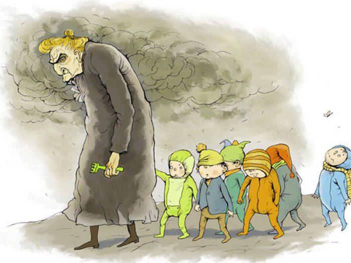 Старая злобная воспитательница ведёт детей на прогулку