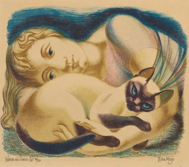 Женщина лежит в обнимку с кошкой
