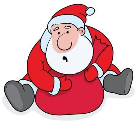 Дед Мороз сидит и закрывает руками мешок с подарками