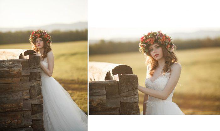 Фотография невесты до и после обработки