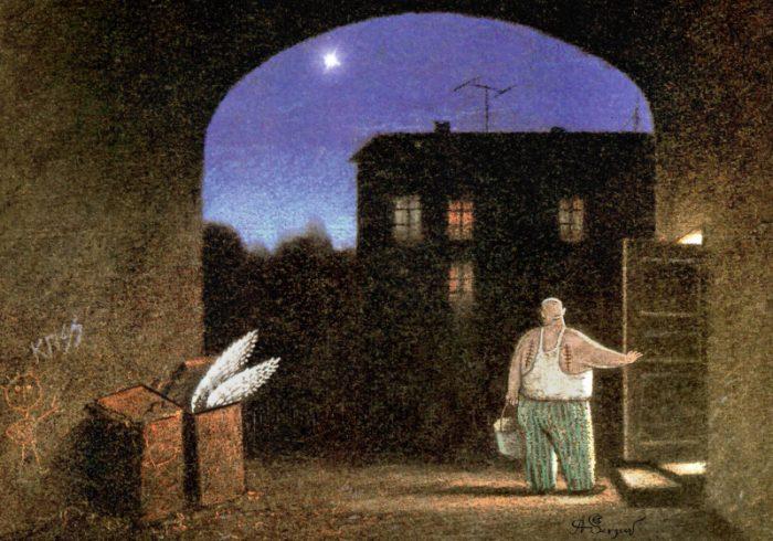 Мужчина вынес мусор, на улице темно, в мусорном баке торчат крылья, а него на спине шрамы