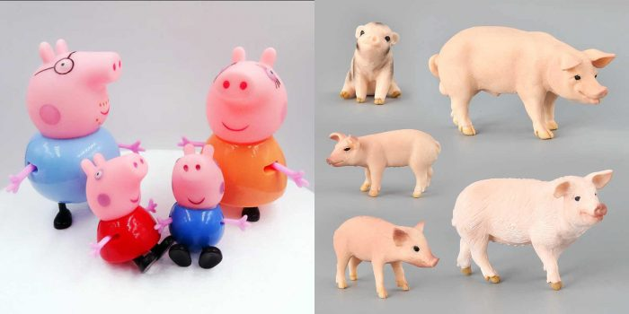 Фигурки персонажей «Свинка Пеппа» и фигурки реалистичных свиней и поросят