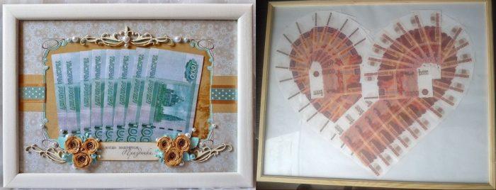 Картина из денег на основе фоторамки, купюры, выложенные в форме сердца