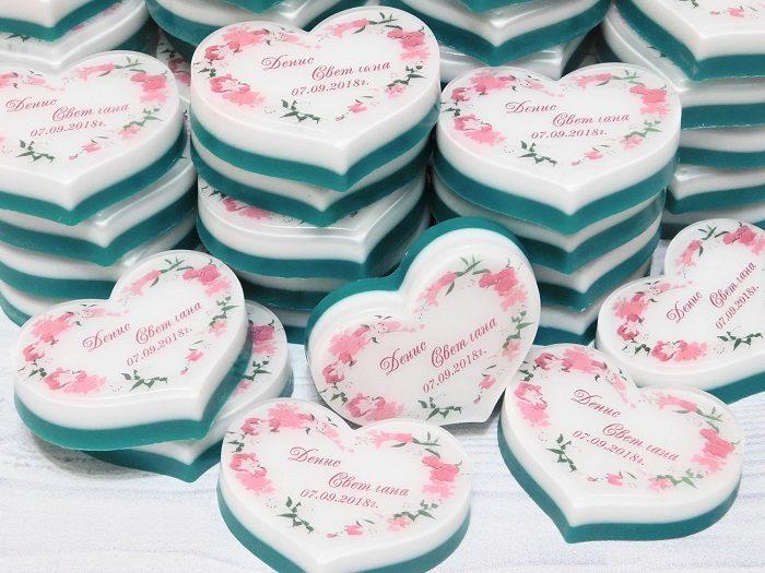 Свадебное мыло в виде сердечка с надписью