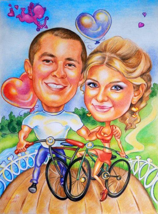 Картина-шарж с изображением мужчины и женщины на велосипедах