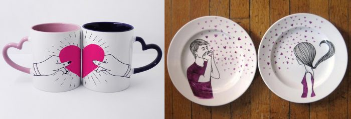 Кружки и тарелки со взаимодополняющим рисунком